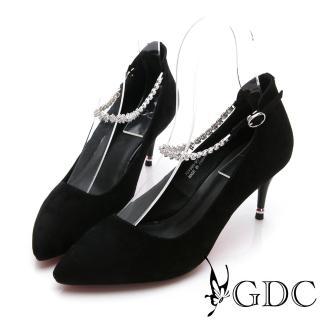 【GDC】羊皮質感高貴尖頭水鑽繞踝高跟鞋-黑色(724960)