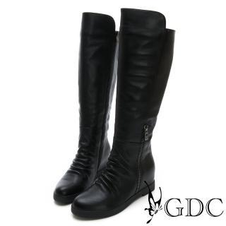 【GDC】真皮歐美秋冬拉鍊設計感素面長筒靴-黑色(728559)