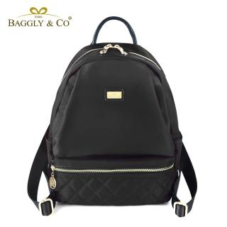 【法國BAGGLY&CO】質感菱格紋真皮尼龍防盜後背包-三色
