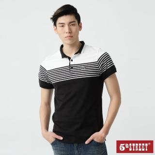 【5th STREET】男條紋短袖POLO衫-黑色