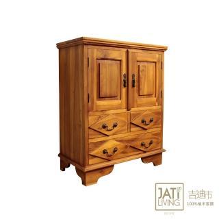 【吉迪市柚木家具】柚木雙層多抽式腰櫃/收納櫃(UNCC-06 收藏 省空間 層架 書架)