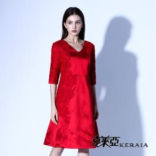 【KERAIA 克萊亞】100%絲質蕾絲鑽飾緞面洋裝