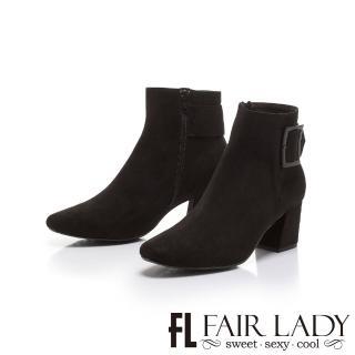 【FAIR LADY】小方圓扣飾絨布粗跟短靴(黑、802054)