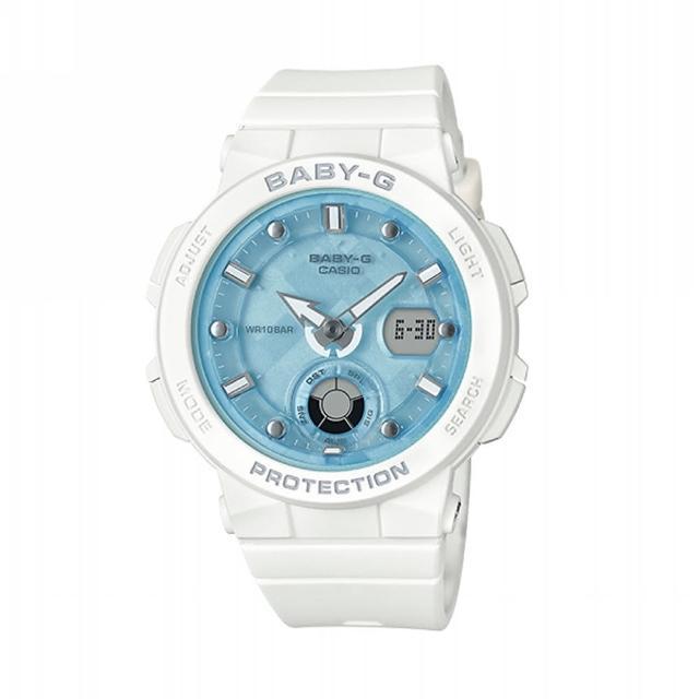 【CASIO 卡西歐】BABY-G 海洋風格系列/霓虹照明/41mm/白x藍(BGA-250-7A1)