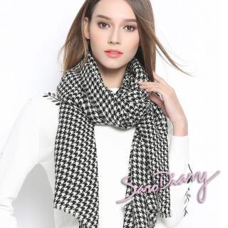 【紡研所認證 SARO DIARY】100%羊毛80支紗細緻輕薄保暖披肩圍巾(經典時尚千鳥紋-PH00156-兩色選)