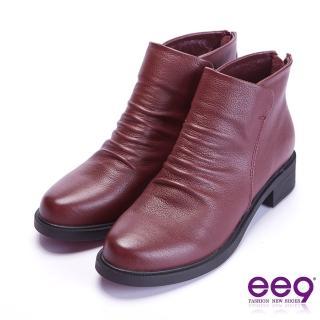 【ee9】ee9 自然抓皺素面粗跟百搭踝靴 黑色(踝靴)