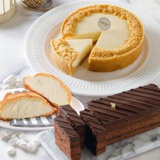 【艾波索】巧克力黑金磚18cm+無限乳酪6吋+牛奶千層冰心泡芙1入(蘋果日報評比雙冠軍)