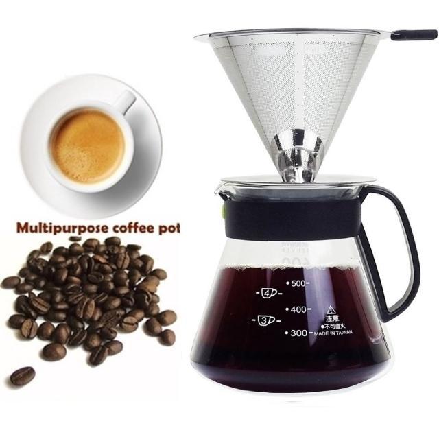 【咖啡沖泡組4】大號316不銹鋼濾杯x1+台玻600ml咖啡壺x1-塑膠手把/泡咖啡/泡茶濾杯/手沖咖啡(2入組)