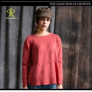 【玄太】寬鬆圓領特色織紋針織上衣(紅)
