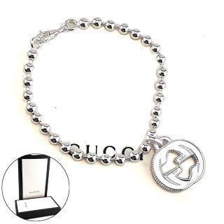 【GUCCI 古馳】GUCCI Interlocking G 925純銀雙G墜飾珠珠手鍊