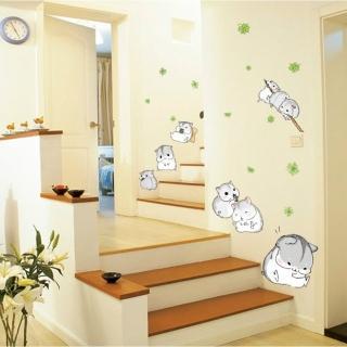 【半島良品】DIY無痕創意牆貼/壁貼-可愛小倉鼠-MJ7014(無痕壁貼 牆貼 壁貼紙 創意璧貼)