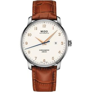 【MIDO 美度】Baroncelli 永恆系列天文台認證機械錶-棕皮帶/42mm(M0376081626200)