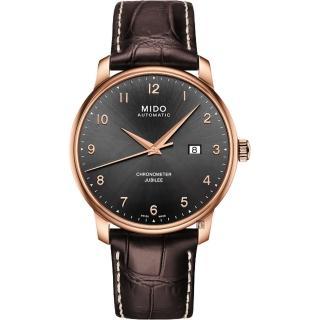 【MIDO 美度】Baroncelli 永恆系列天文台認證機械錶-玫瑰金框x咖啡/42mm(M0376083606200)