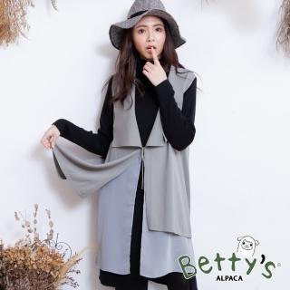 【betty's 貝蒂思】雪紡拼接無袖針織罩衫(灰色)