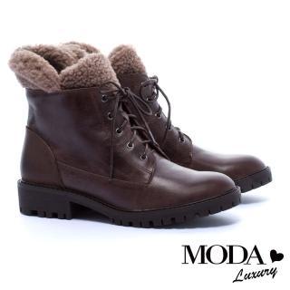 【MODA Luxury】街頭率性毛毛拼接牛皮綁帶中筒軍靴(咖)