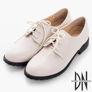 【DN】手感打造 MIT素面細紋綁帶牛津鞋(淺芋)