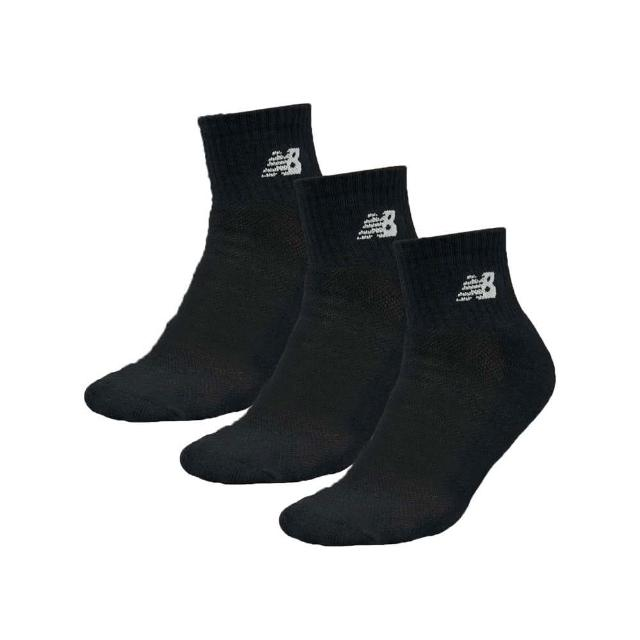 【NEW BALANCE】男運動短襪-三雙入 中筒襪 襪子 NB 黑白(7831810289)