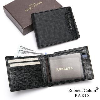【Roberta Colum】尊爵格調頭層牛皮8卡1照左右翻短夾
