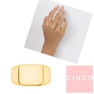【CINCO】葡萄牙精品 CINCO Giulia ring 24K金尾戒 方形素面尾戒(925純銀)