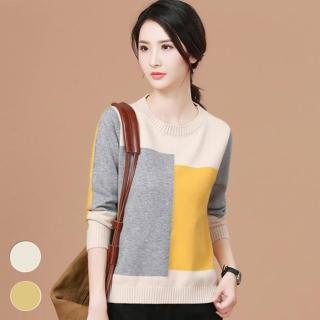 【MsMore】韓國東大門最新韓風撞色長袖針織上衣103306#j(2色)