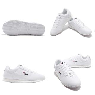 【FILA】休閒鞋 1J903S113 低筒 運動 男鞋 經典 復古 皮革 舒適 穿搭 球鞋 白 藍(1J903S113)