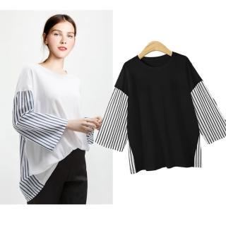 【KEITH-WILL】韓國拼接色條紋T恤 XL-5XL(共2色)