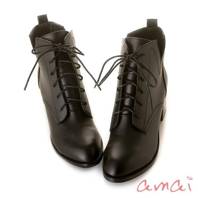 【amai】《Olivia奧麗薇亞》率性綁帶V口高跟短靴(黑)