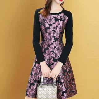 【FQ時尚天后】粉紫香檳晶亮緹花顯瘦黑長袖洋裝(S-2XL)
