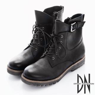 【DN】中性風格 綁帶美式拉鍊軍短靴(黑)