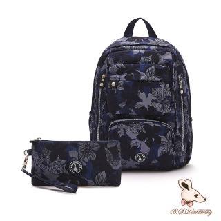 【冰山袋鼠】楓糖瑪芝-大容量附插袋後背包+零錢包2件組-花繪風(Z060)