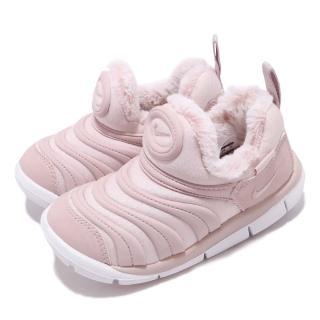 【NIKE 耐吉】慢跑鞋 Dynamo Free SE 運動 童鞋 襪套 毛毛蟲 舒適 內裡刷毛 保暖 小童 粉 白(AA7217-601)
