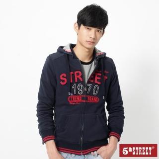 【5th STREET】男貼布繡美式帽開襟外套-丈青