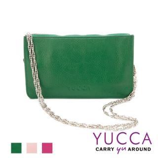 【YUCCA】牛皮淑女優雅手拿鏈帶包-草綠(D0020044009)