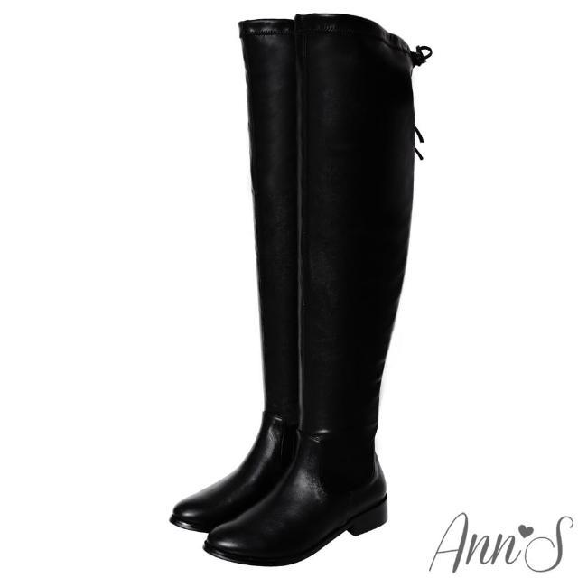 【Ann'S】微性感棉花糖-羊紋平底彈力側拉鍊過膝長靴(黑)