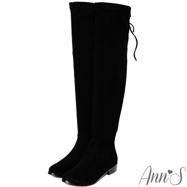 【Ann'S】微性感棉花糖-絨質平底彈力側拉鍊過膝長靴(黑)