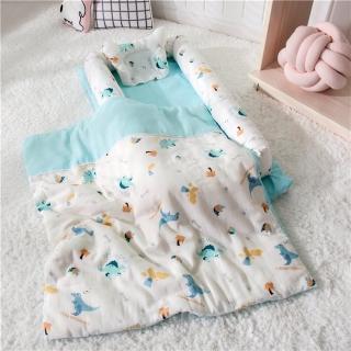 【Kori Deer 可莉鹿】雙層紗貢緞純棉多功能床中床/可折疊嬰兒床包/便攜式母嬰包外出手提旅行床(附被子多款)