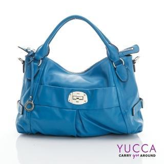 【YUCCA】十字扣牛皮手挽三用包-藍(D012624)