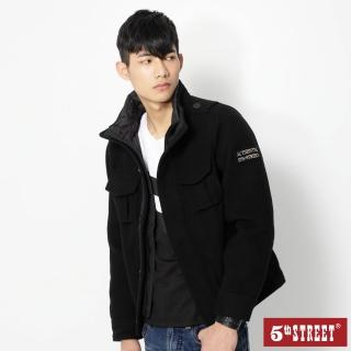【5th STREET】男毛呢鋪棉長袖外套-黑色