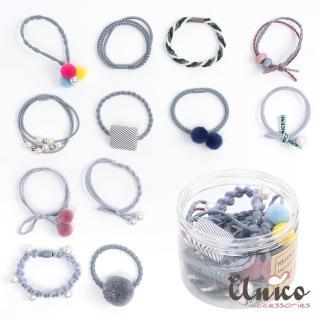【UNICO】韓版百變組合12件髮圈橡皮筋組合盒裝-C(配件)