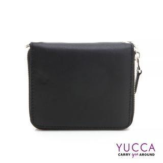 【YUCCA】繽紛牛皮卡片短夾肩背小包-黑(D0093001C68)