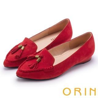【ORIN】經典復古 氣質流蘇牛皮尖頭樂福平底鞋(紅色)