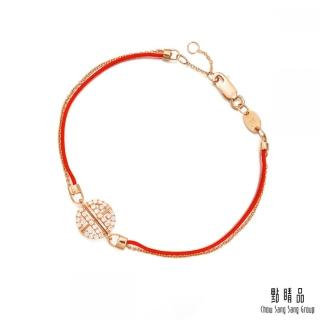 【點睛品】Wrist Play 典雅 18K玫瑰金鑽石紅繩手鍊