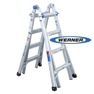 【WERNER】加贈站立平台-美國Werner鋁梯-MT-17 鋁合金伸縮式多功能梯/萬用梯