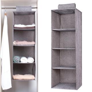 【愛家樂】日本熱銷強韌麻布高雅衣櫃衣櫥吊掛式四層整理分類收納袋掛袋可水洗(一入/收納神器)