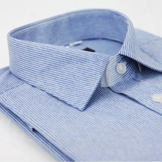 【金安德森】仿舊藍底白線條窄版長袖襯衫