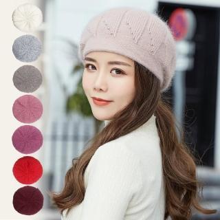 【幸福揚邑】流星造型顯瘦保暖兔毛針織貝蕾毛線帽