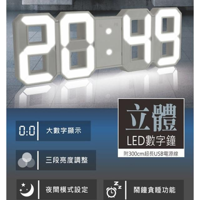 【KINYO】USB供電LED立體數字鐘(掛鐘)