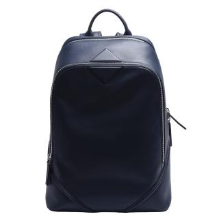 【MCM】DUKE NAPPA系列牛皮拉鍊後背包(中-深藍MMK-6SDK11-VT001)