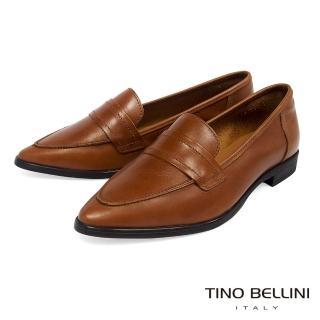 【TINO BELLINI 貝里尼】義大利進口純色簡約尖楦微跟樂福鞋TF8501(棕)