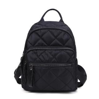 【VIVI SECRET】經典菱格繡線多隔層後背包(黑色)